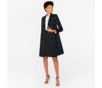 Wool-Blend Black Watch Check Epsom Coat With Flocked Spots