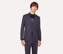 Slim-Fit Blue Cross-Hatch Wool-Linen Blazer