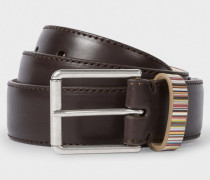 Brown Leather Belt With Signature Stripe Keeper