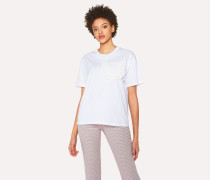 White Cotton T-Shirt With Ruffle Pocket