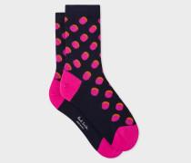 Dark Navy Polka Dot Socks With Shadow