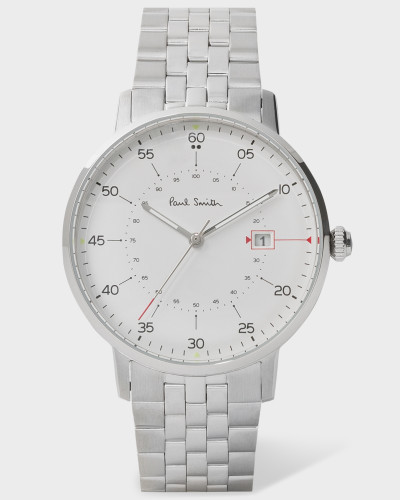 White And Stainless Steel 'Gauge' Watch With Bracelet Strap