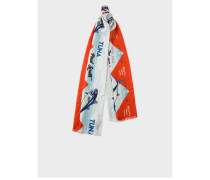 Light Blue 'Tuna' Print Tubular Silk-Blend Scarf