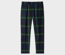 Tapered-Fit Black Watch Check Wool Trousers