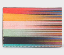 Mixed-Stripe Leather Credit Card Holder