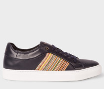 Navy Leather 'Ivo' Trainers With Signature Stripe Panels