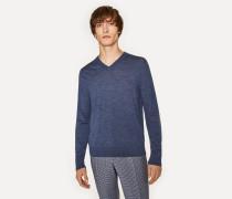 Slate Blue Marl V-Neck Merino Wool Sweater