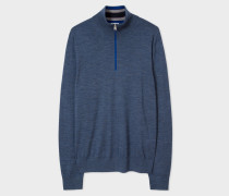 Blue-Marl Merino Wool Funnel Neck Sweater
