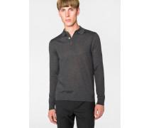 Grey-Marl Merino Wool Long-Sleeve Polo Shirt