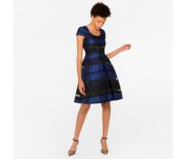 Blue And Black Sheer-Stripe Dress