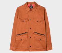 Burnt Orange Stretch-Cotton Field Jacket