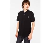 Black Cotton-Piqué Zebra Logo Polo Shirt