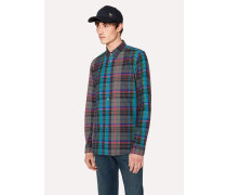 Tailored-Fit Grey Checked Cotton Shirt