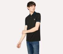 Slim-Fit Dark Green Zebra Polo Shirt With Blue Tipping