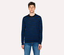 Slate Blue And Black Stripe Crew-Neck Merino Wool Sweater