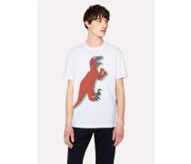 White Large-Scale 'Dino' Print Cotton T-Shirt