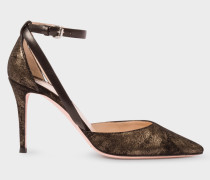 Black And Gold Suede 'Naomi' Shoes