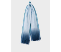 Light Blue Dip-Dye Cashmere-Silk Scarf