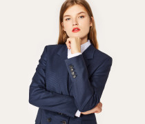 A Suit To Travel In -  Navy Puppytooth Double-Breasted Wool Blazer