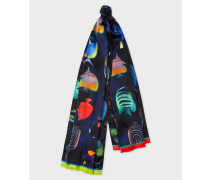 Black 'Tropical Fish' Print Silk Scarf