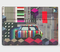 Black 'Geometric Mini' Print Saffiano Leather Credit Card Holder