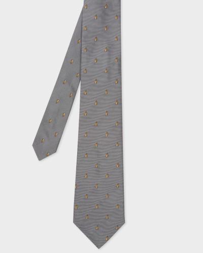 Grey Embroidered Rabbit Motif Silk Tie