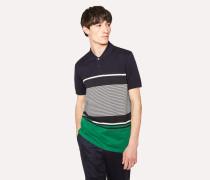 Navy Colour-Block Stripe Cotton Polo Shirt