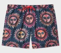 Navy 'Sun' Print Long Swim Shorts