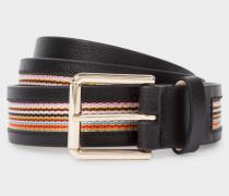 Black 'Signature Stripe' Trim Leather Belt