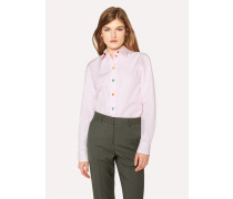 Pink Cotton Shirt With Multi-Coloured Buttons