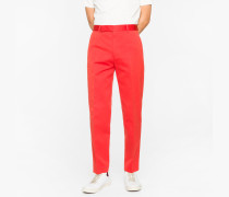 Standard-Fit Red Cotton-Linen Chinos
