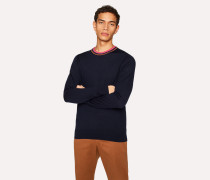 Navy Merino Wool Sweater With Contrast Collar