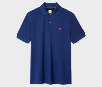 Slim-Fit Blue Cotton-Piqué Polo Shirt With 'Heart' Embroidery