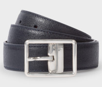 Navy Saffiano Leather Cut-To-Fit Reversible Belt