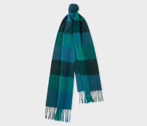 Bottle Green Check Pattern Cashmere Scarf