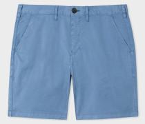 Sky Blue Garment-Dyed Stretch Pima-Cotton Shorts