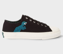 Black Canvas 'Kinsey' Trainers With Dino Print