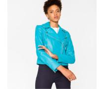 Turquoise Leather Biker Jacket