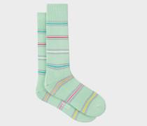 Mint Green Bright Thin-Stripe Socks