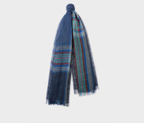 Blue Check And Stripe Linen Scarf