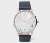 Silver And Slate Grey 'Slim' Artist Stripe Watch
