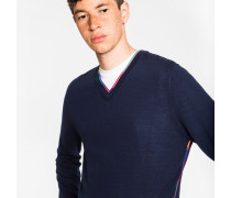 Navy Wool-Blend V-Neck Sweater With Multi-Coloured Stripe Detailing