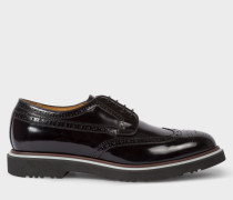 Black High-Shine Leather 'Crispen' Brogues