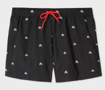Black Swim Shorts With 'Crab' Embroidery