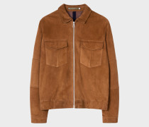 Tan Suede Patch-Pocket Jacket