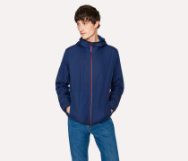 Navy Packable Micro-Ripstop Hooded Jacket