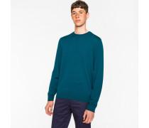 Dark Teal Merino Wool Crew Neck Sweater