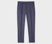 Tapered-Fit Blue Cross-Hatch Wool-Linen Trousers