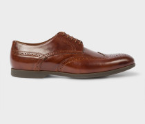 Dark Tan Leather 'Ryan' Brogues With Travel Soles