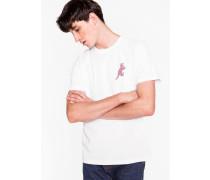 White Organic-Cotton Small 'Dino' Print T-Shirt